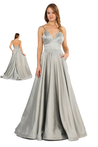 Long Metallic V-Neck Dress with Pockets by Poly USA 8358-Long Formal Dresses-ABC Fashion