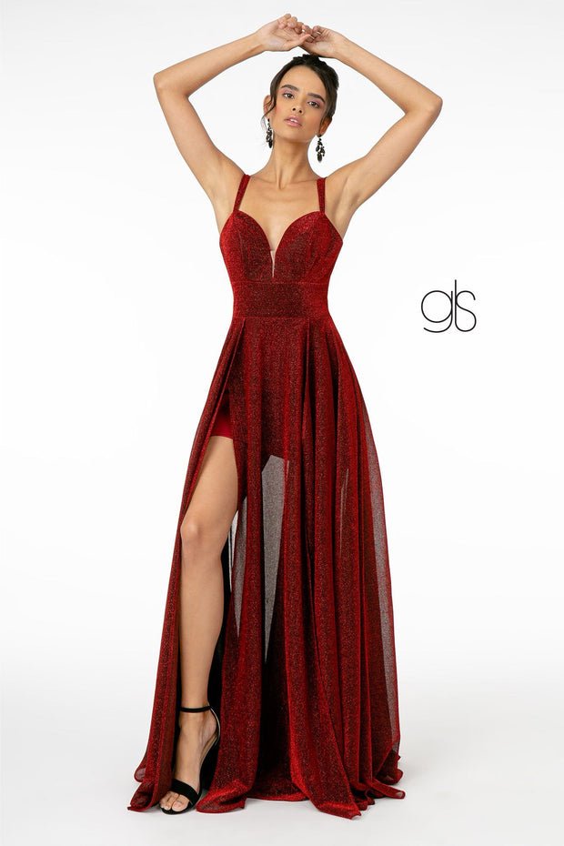 Long Metallic V-Neck Dress with Slit by Elizabeth K GL2997