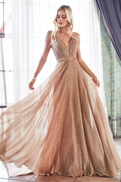 Long Pleated Metallic Dress by Cinderella Divine CW167