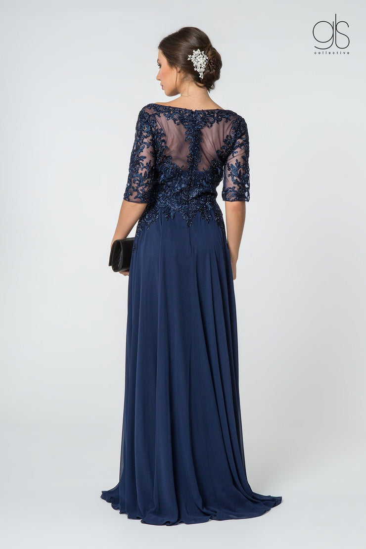 Long Mid-Sleeve Gown with Embroidered Bodice by Elizabeth K GL2811-Long Formal Dresses-ABC Fashion