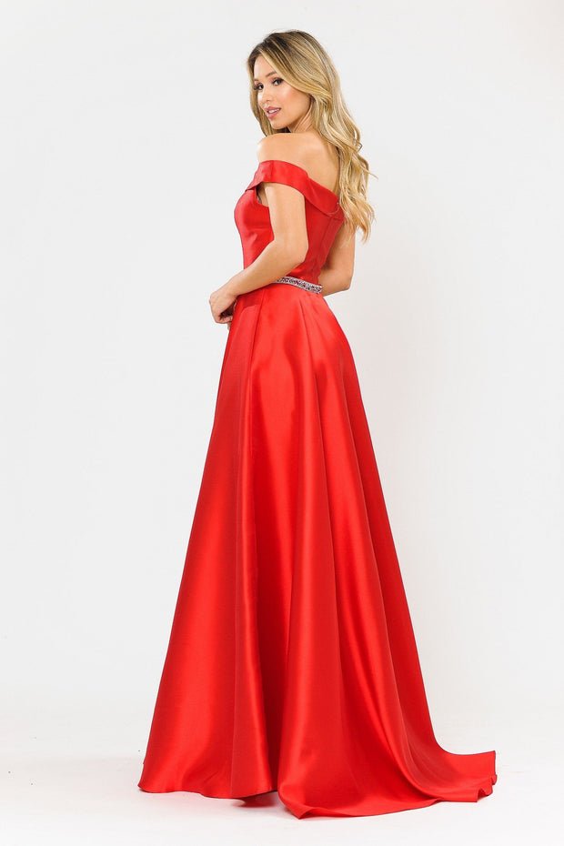 Long Mikado Off the Shoulder Dress by Poly USA 8686