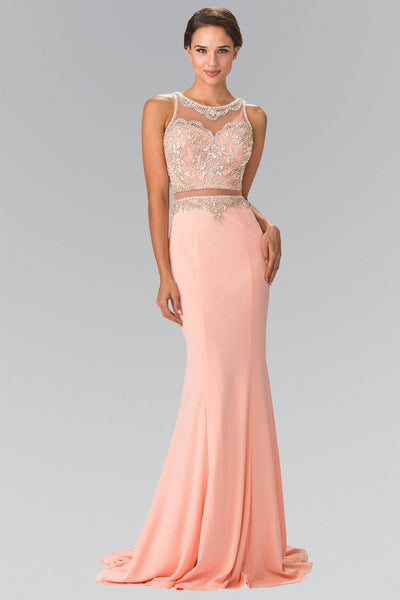 Long Mock Two-Piece Dress with Beaded Top by Elizabeth K GL2342-Long Formal Dresses-ABC Fashion