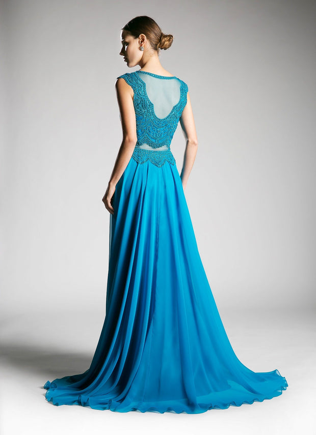 Long Mock Two-Piece Dress with Cap Sleeves by Cinderella Divine CD0113-Long Formal Dresses-ABC Fashion