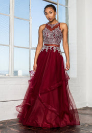 Long Mock Two-Piece Dress with Embellished Bodice by Elizabeth K GL1594-Long Formal Dresses-ABC Fashion