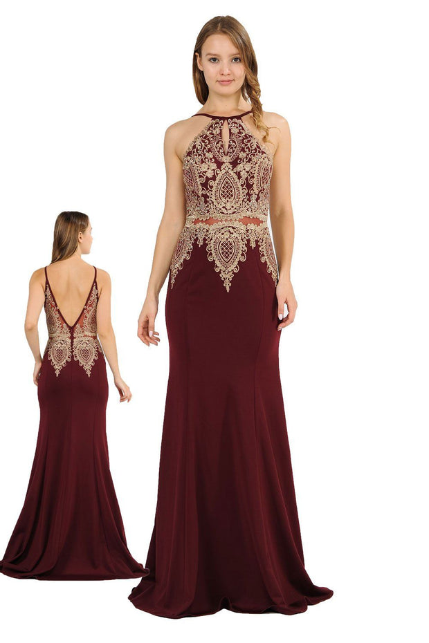 Long Mock Two-Piece Dress with Lace Appliques by Poly USA 8244-Long Formal Dresses-ABC Fashion