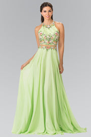 Long Mock Two-Piece Floral Embroidered Dress by Elizabeth K GL2340-Long Formal Dresses-ABC Fashion
