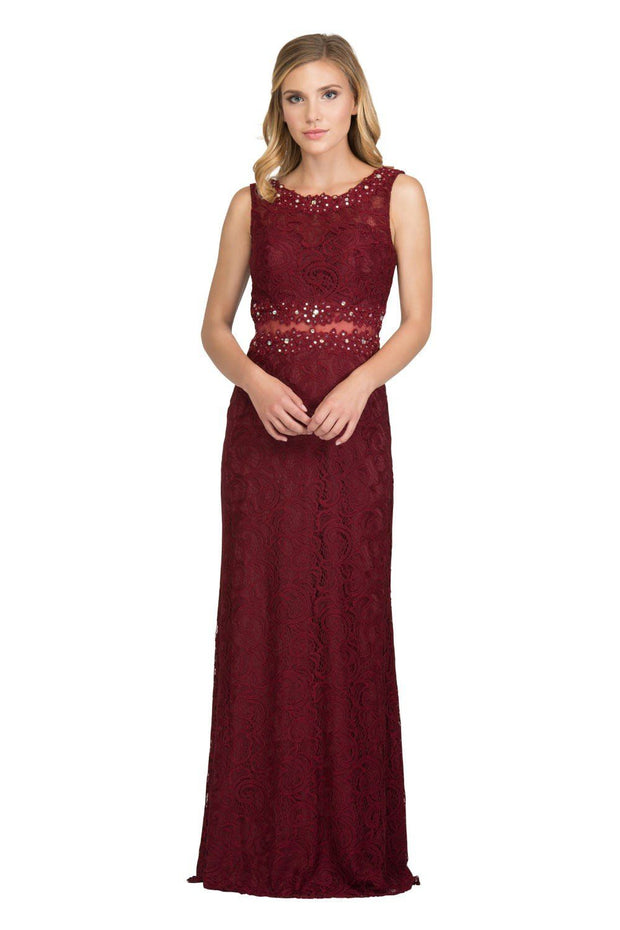 Long Mock Two Piece Lace Dress by Star Box 6193-Long Formal Dresses-ABC Fashion