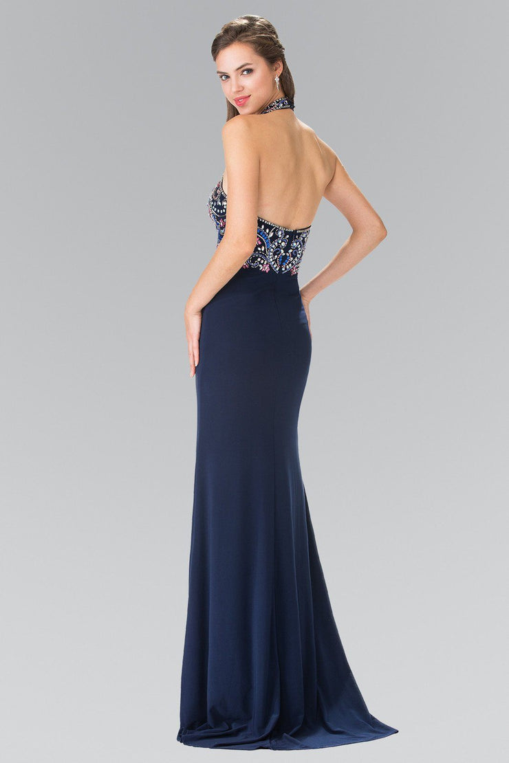 Long Multi-Color Beaded Illusion Halter Dress by Elizabeth K GL2279-Long Formal Dresses-ABC Fashion