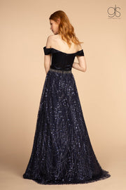 Long Off Shoulder Dress with Glitter Print Skirt by Elizabeth K GL2530-Long Formal Dresses-ABC Fashion
