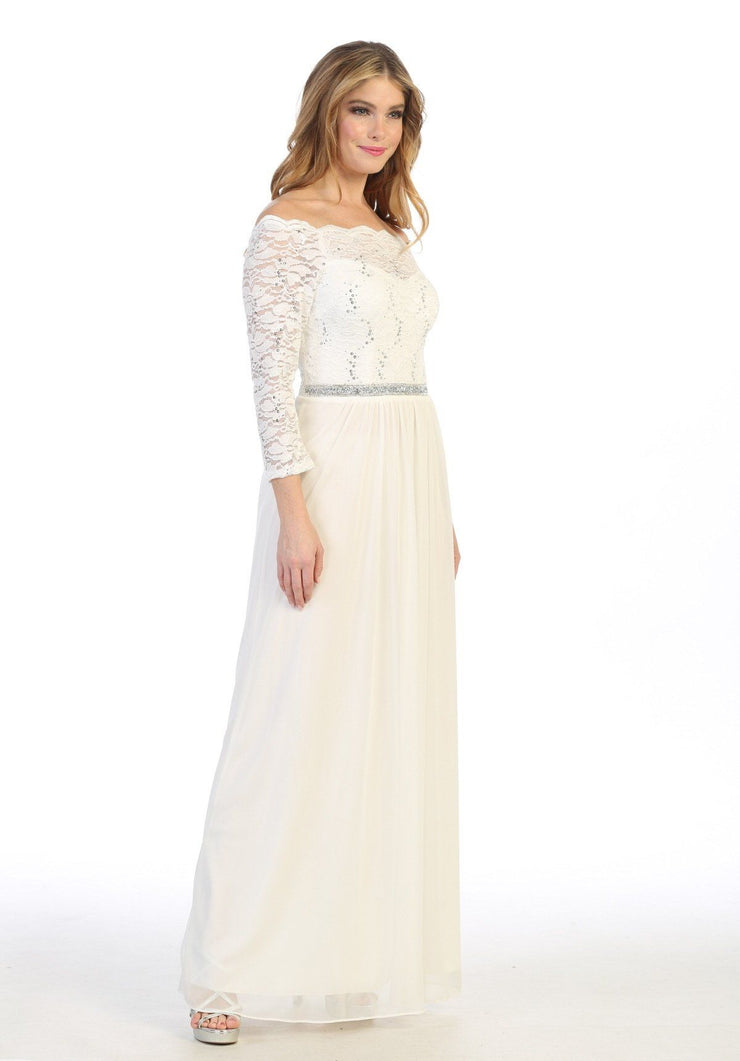 Long Off Shoulder Dress with Lace Bodice by Celavie 6468L