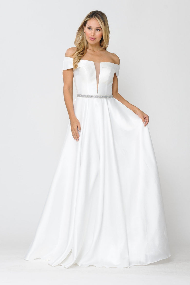 Long Off Shoulder Illusion V-Neck Dress by Poly USA 8680