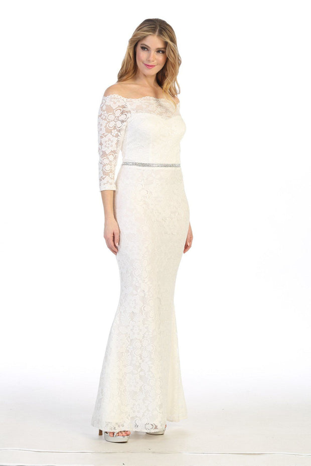 Long Off Shoulder Lace Dress with Beaded Waist by Celavie 6390L