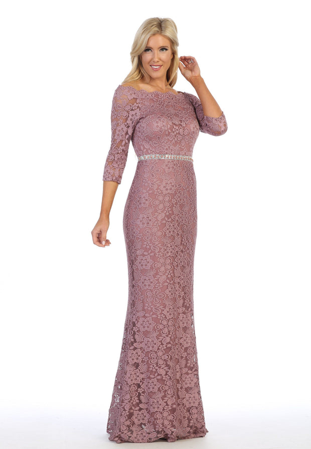 Long Off Shoulder Lace Dress with Beaded Waist by Celavie 6390L-Long Formal Dresses-ABC Fashion