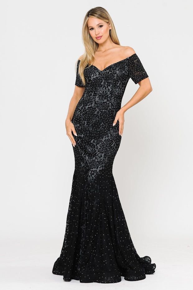 Long Off Shoulder Lace Mermaid Dress by Poly USA 8596