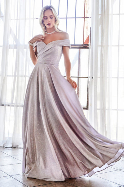 Off Shoulder Metallic Glitter Gown by Cinderella Divine CD183