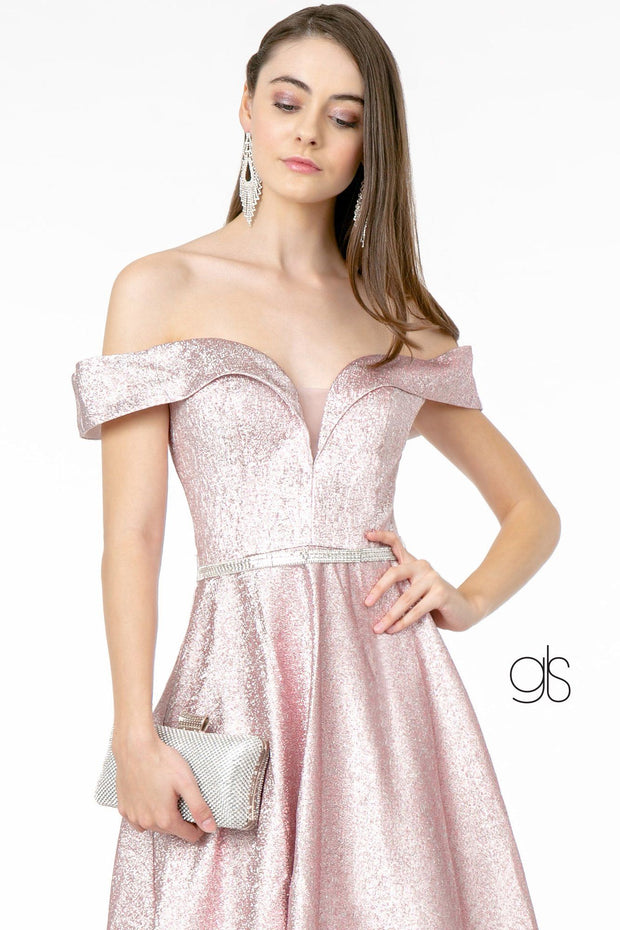 Long Off Shoulder Metallic Glitter Dress by Elizabeth K GL2982