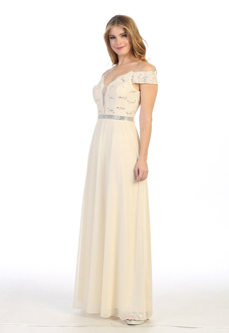 Long Off Shoulder Sweetheart Dress with Lace Bodice by Celavie 6479
