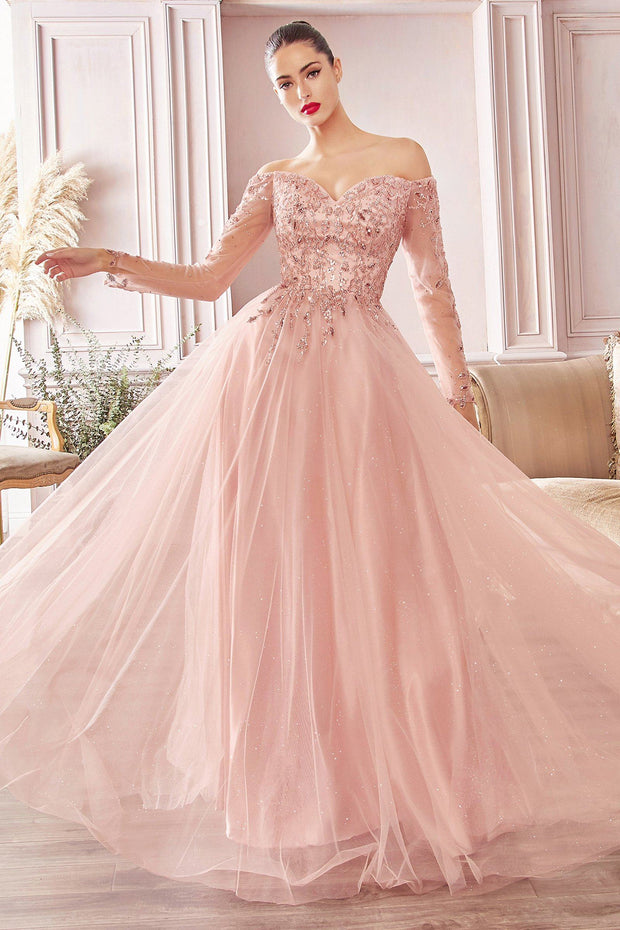 Long Off Shoulder Tulle Dress by Cinderella Divine CD0172
