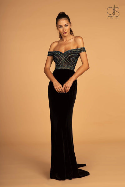 Long Off Shoulder Velvet Dress with Beaded Top by Elizabeth K GL2628-Long Formal Dresses-ABC Fashion