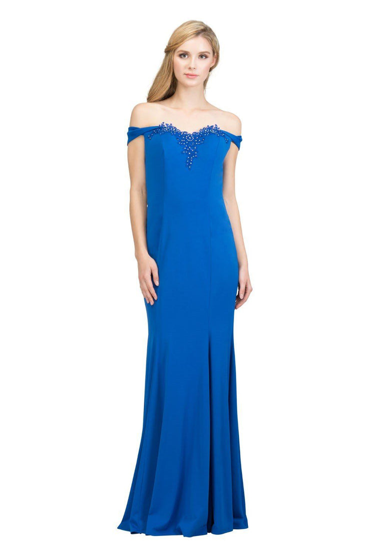 Long Off the Shoulder Dress with Embellished Top by Star Box 17404-Long Formal Dresses-ABC Fashion