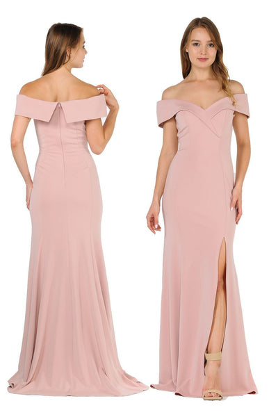 Long Off the Shoulder Dress with Front Slit by Poly USA 8258-Long Formal Dresses-ABC Fashion
