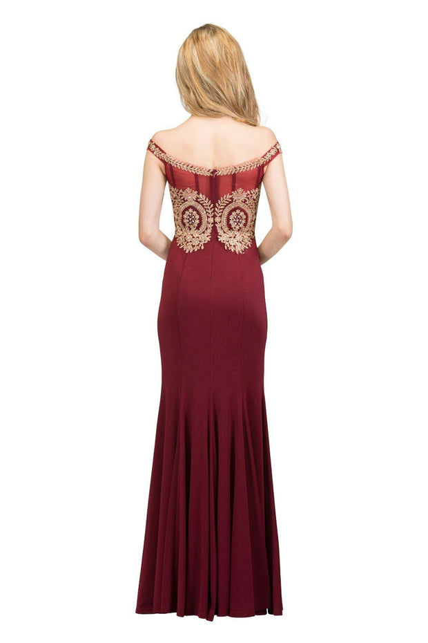 Long Off the Shoulder Dress with Gold Lace Applique Bodice by Star Box 17288-Long Formal Dresses-ABC Fashion