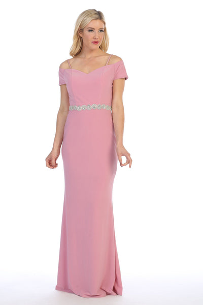 Long Off the Shoulder Dress with Jeweled Waistband by Celavie 6292-L-Long Formal Dresses-ABC Fashion
