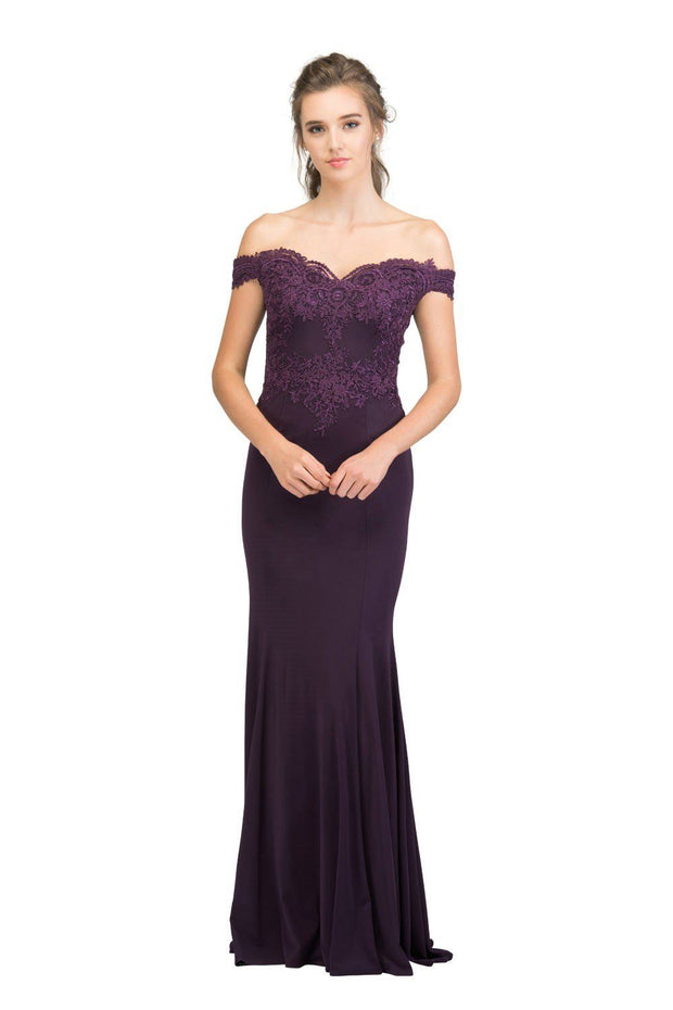 Long Off the Shoulder Dress with Lace Bodice by Star Box 17421-Long Formal Dresses-ABC Fashion
