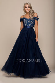 Long Off the Shoulder Dress with Lace Top by Nox Anabel 8372-Long Formal Dresses-ABC Fashion