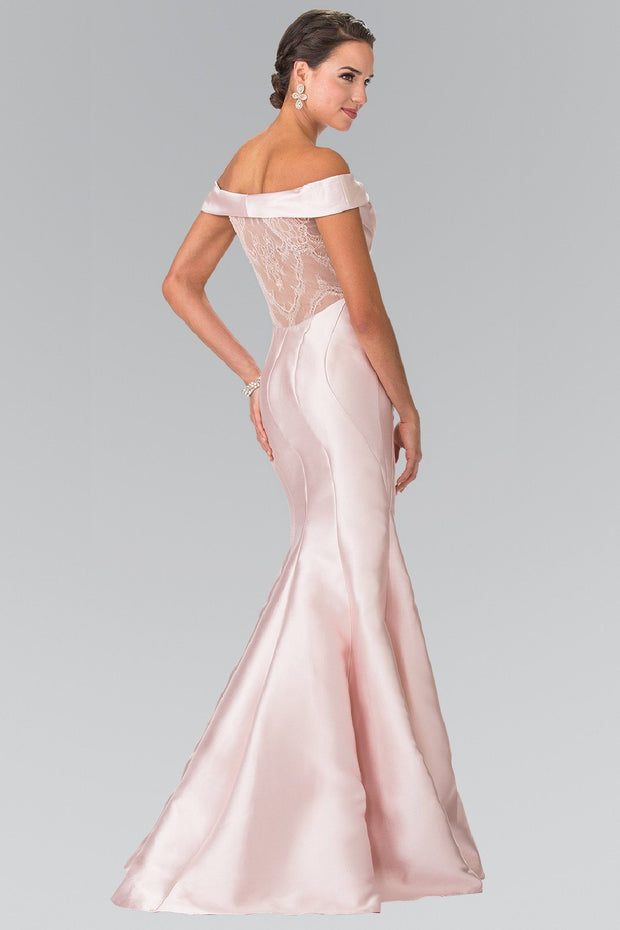 Long Off The Shoulder Dress with Sheer Lace Back by Elizabeth K GL2213-Long Formal Dresses-ABC Fashion