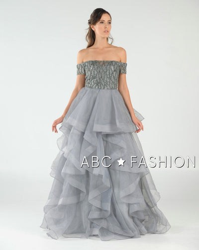 Long Off the Shoulder Dress with Tiered Skirt by Poly USA 8006-Long Formal Dresses-ABC Fashion
