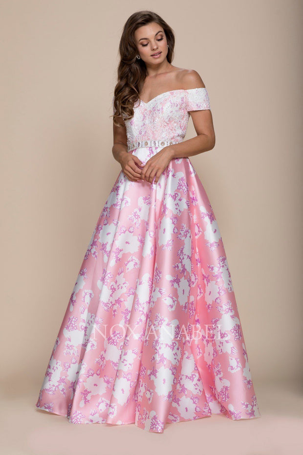 Long Off the Shoulder Floral Print Dress by Nox Anabel 8301-Long Formal Dresses-ABC Fashion