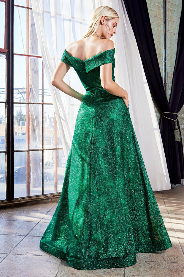 Long Off Shoulder Glitter Dress by Cinderella Divine CB050
