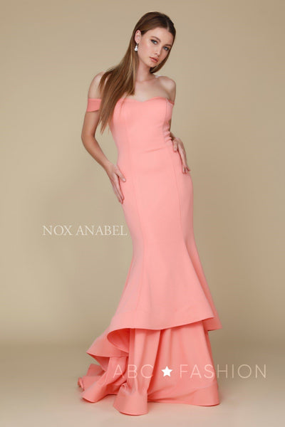 Long Off the Shoulder Mermaid Dress by Nox Anabel C028-Long Formal Dresses-ABC Fashion