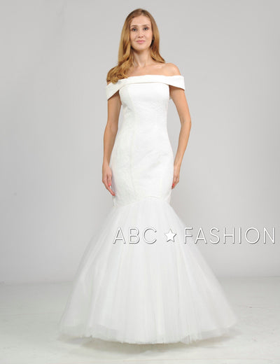 Long Off the Shoulder White Dress with Mermaid Skirt by Poly USA 8280-Wedding Dresses-ABC Fashion