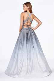 Long Ombre Glitter Dress with Corset Back by Cinderella Divine J8737