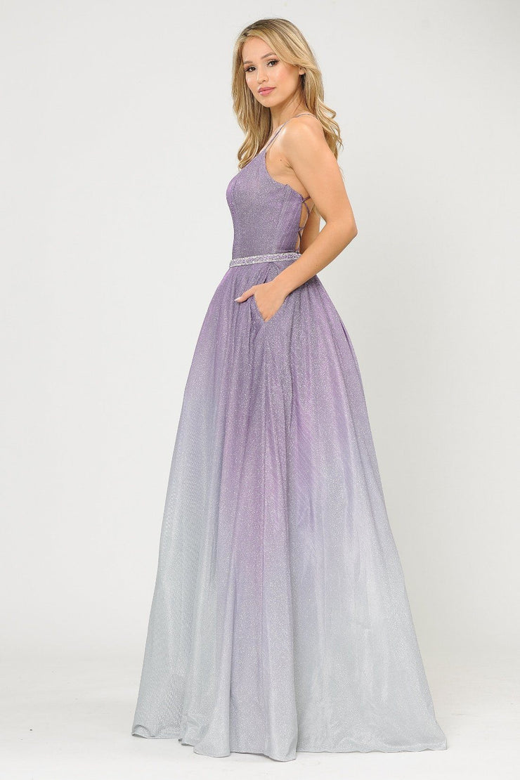 Long Ombre Glitter Dress with Corset Back by Poly USA 8708