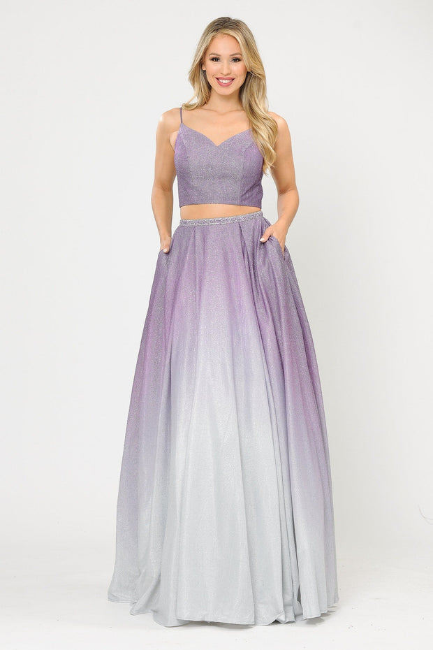 Long Ombre Glitter Two Piece Dress by Poly USA 8706