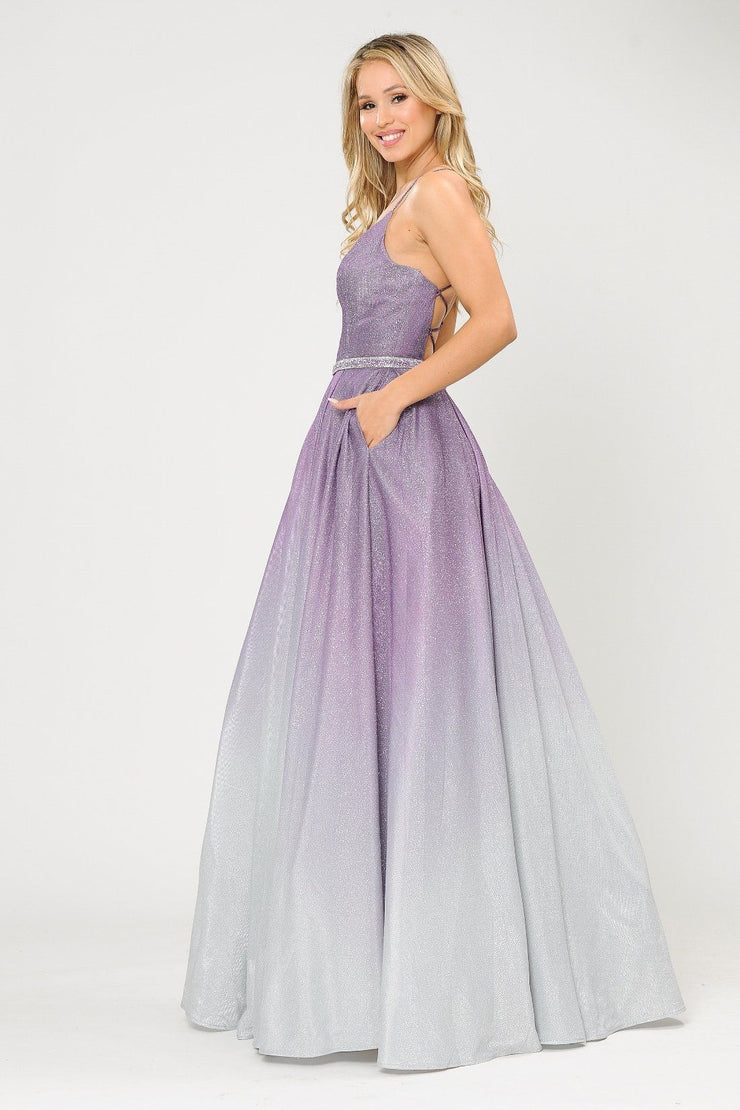 Long Ombre Glitter V-Neck Dress with Corset Back by Poly USA 8712