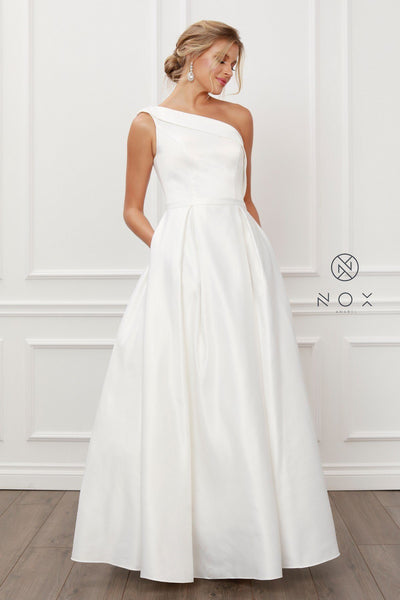 Long One Shoulder A-line Dress by Nox Anabel E469