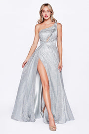Long One Shoulder Glitter Dress by Cinderella Divine J782-Long Formal Dresses-ABC Fashion
