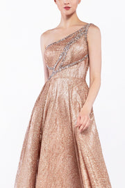 Long One Shoulder Glitter Dress by Cinderella Divine J782