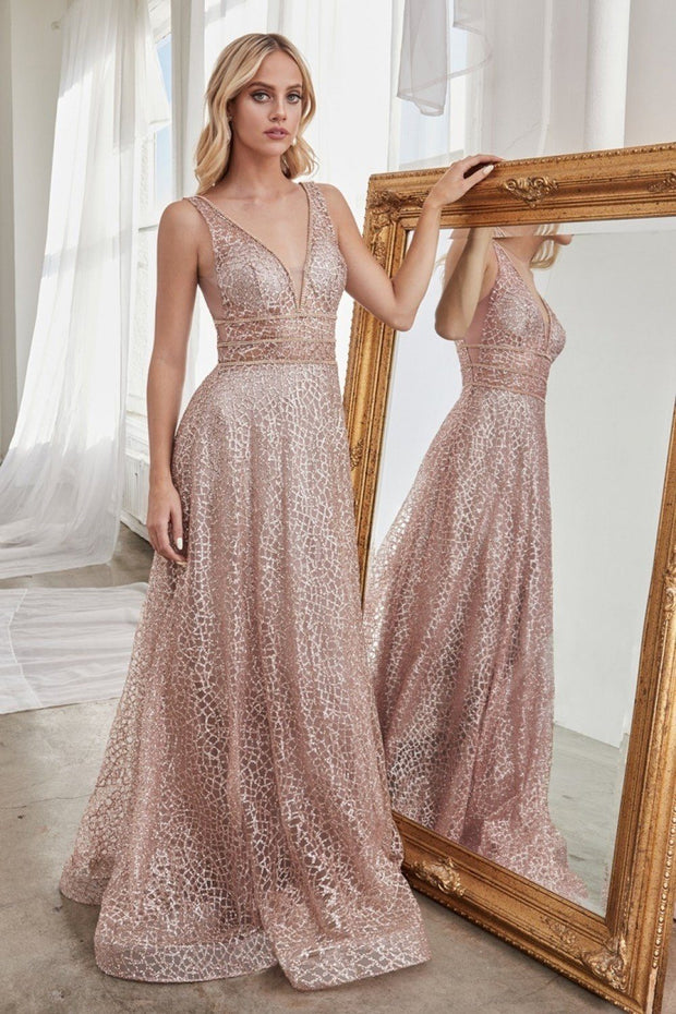 Long Open Back A-line Glitter Dress by Cinderella Divine CJ256