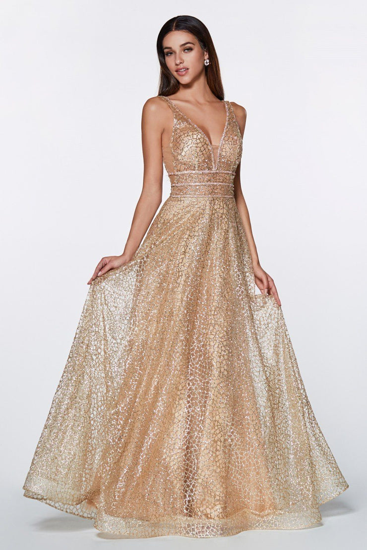 Long Open Back A-line Glitter Dress by Cinderella Divine CJ256-Long Formal Dresses-ABC Fashion