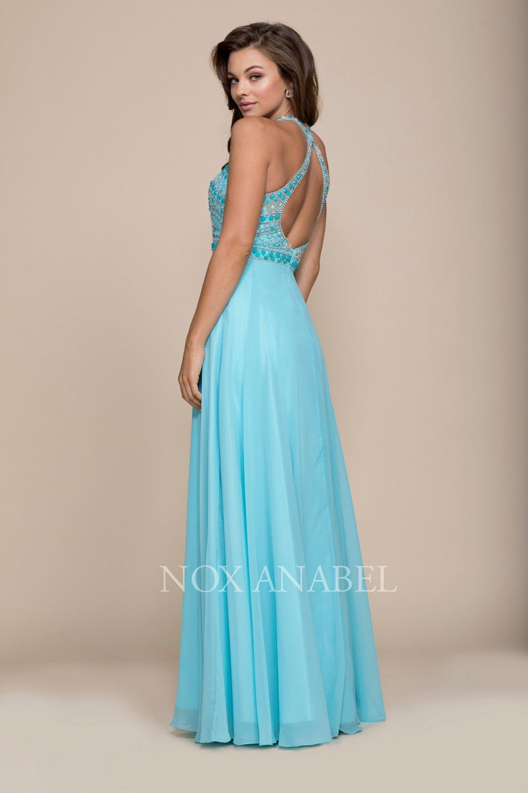 Long Open Back Dress with Beaded Top by Nox Anabel 8286-Long Formal Dresses-ABC Fashion