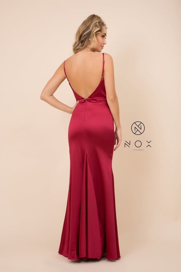 Long Open Back Dress with Cowl Neckline by Nox Anabel C302