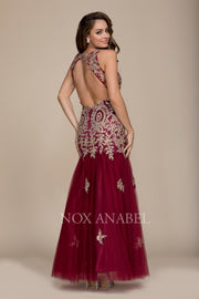 Long Open Back Dress with Gold Applique by Nox Anabel 8308-Long Formal Dresses-ABC Fashion