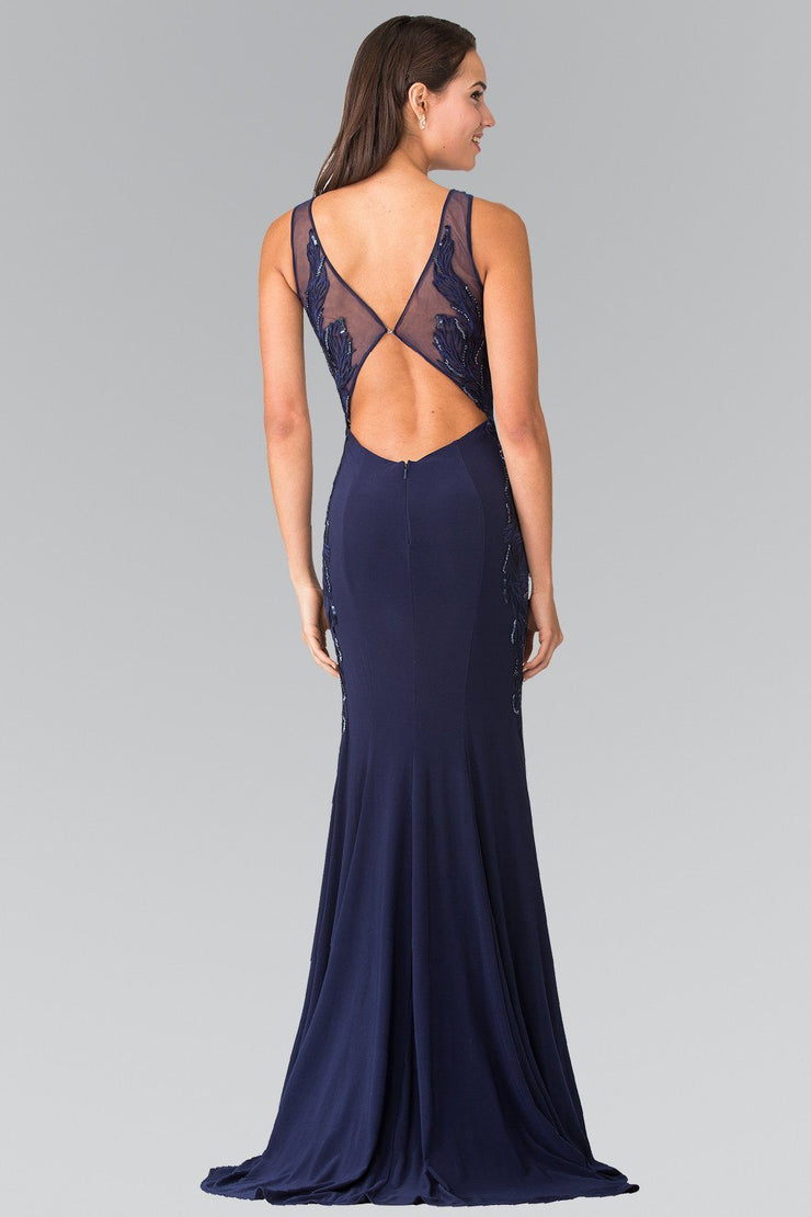 Long Open Back Dress with Side Embroidery by Elizabeth K GL2222-Long Formal Dresses-ABC Fashion
