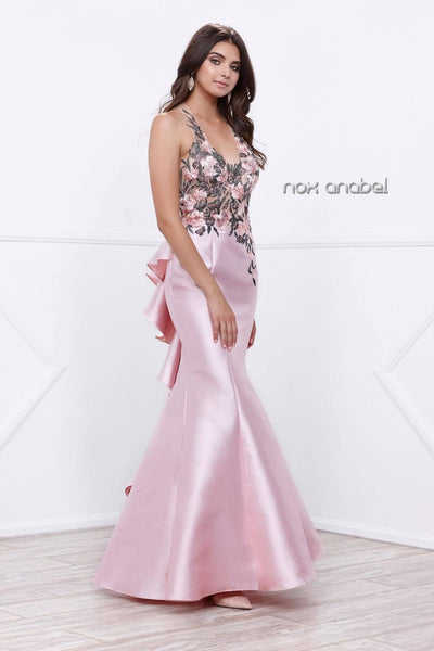 Long Pink Halter Dress with Floral Embroidery by Nox Anabel 8374-Long Formal Dresses-ABC Fashion