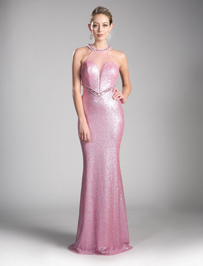Long Pink Sequin Formal Dress by Cinderella Divine CR814-Long Formal Dresses-ABC Fashion